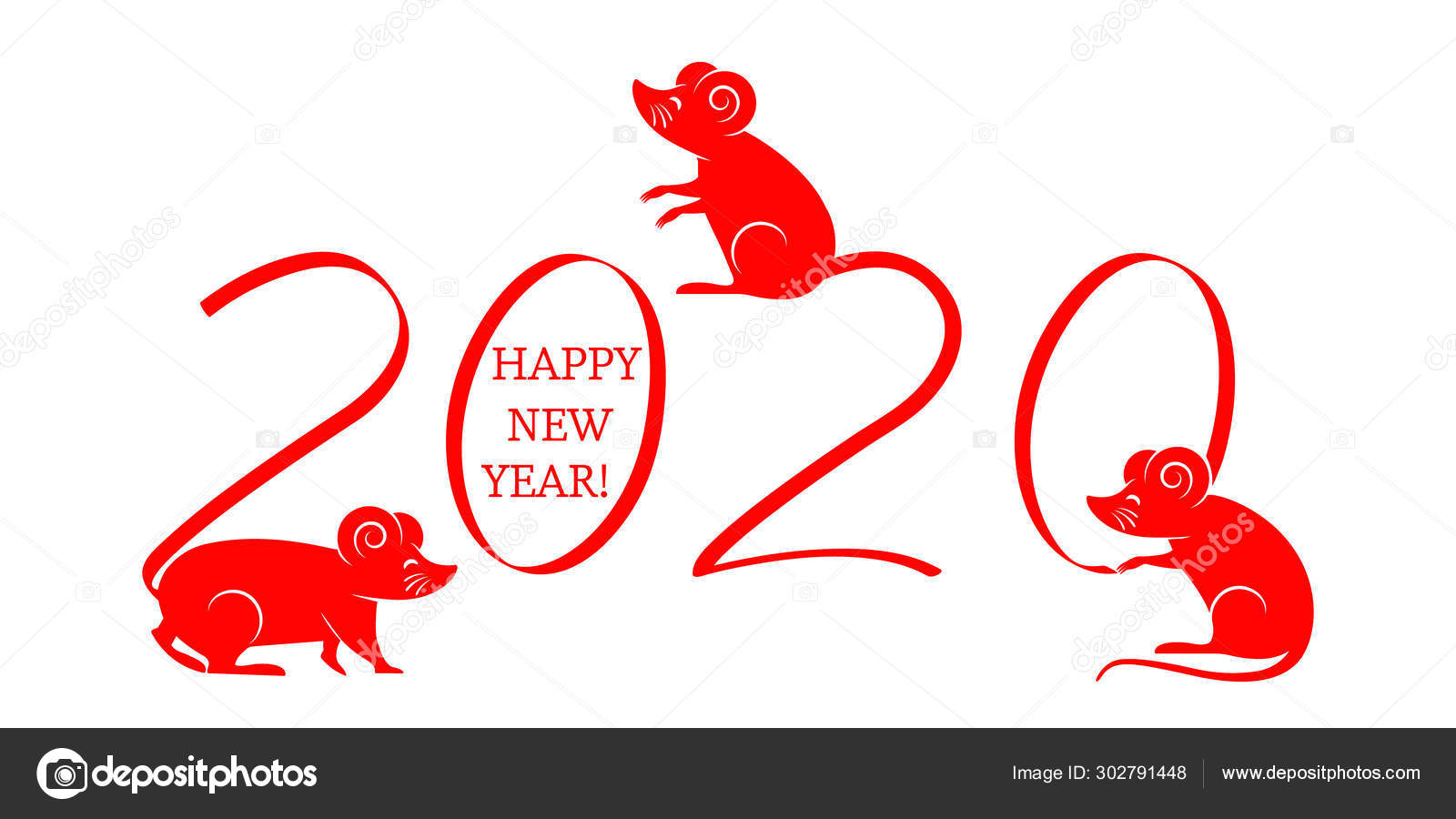 Eastern Christmas 2020 Greeting Christmas card with the year 2020 of the rat according to
