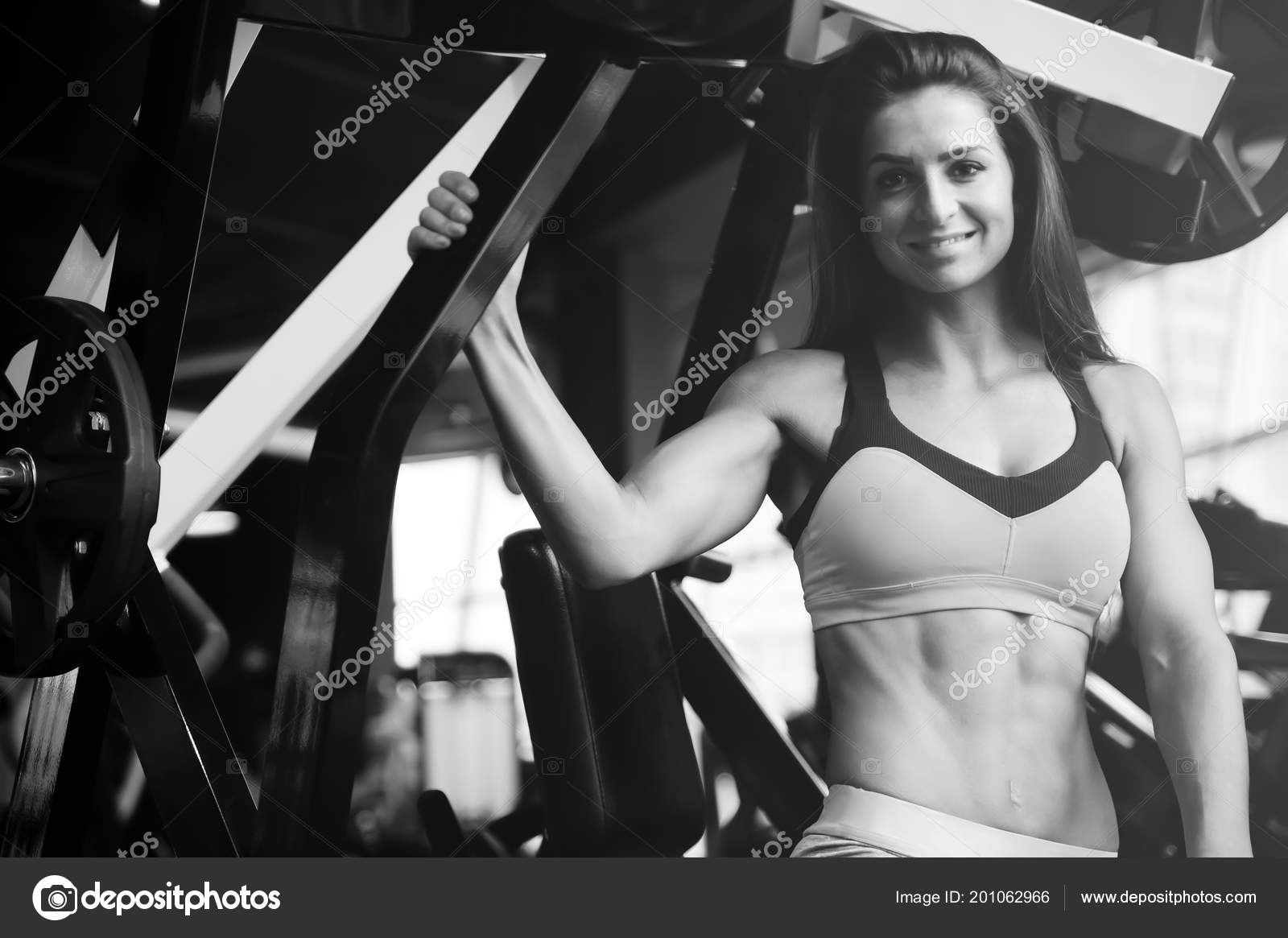 3146f91b21 Beautiful Strong Sexy Athletic Young Caucasian Fitness Girl Long Hair —  Stock Photo