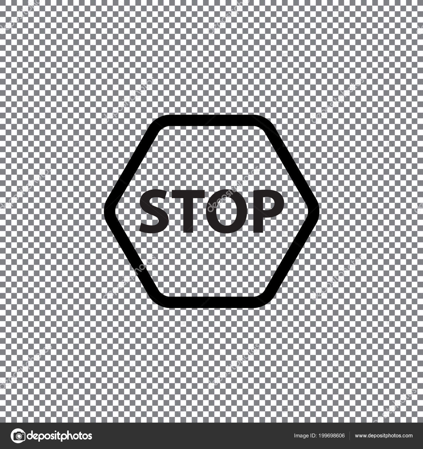Vector Stop Icon Transparent Background — Stock Vector