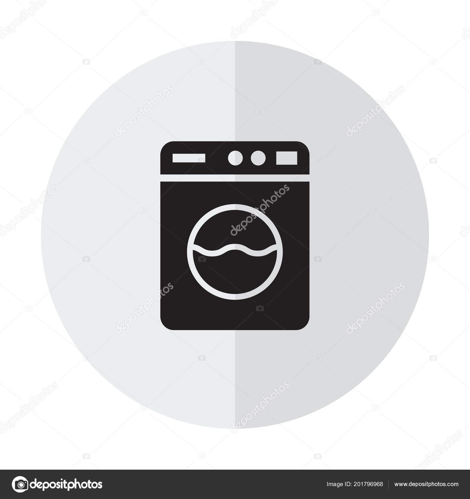 Washing Machine Icon Home Appliances Symbol Flat Sign White