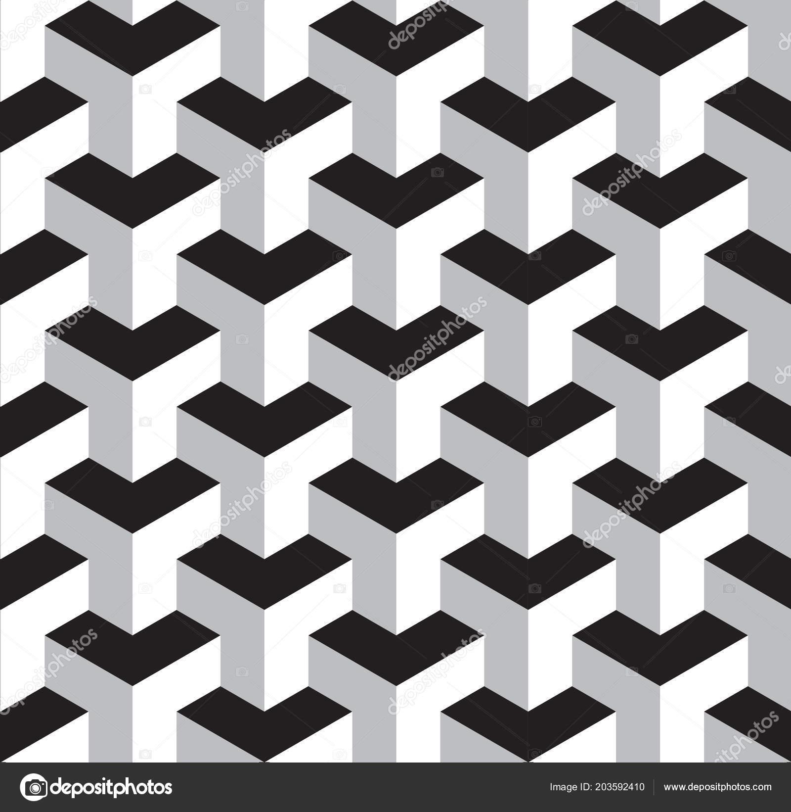 Seamless Black White Geometric Pattern Vector Illustration Stock