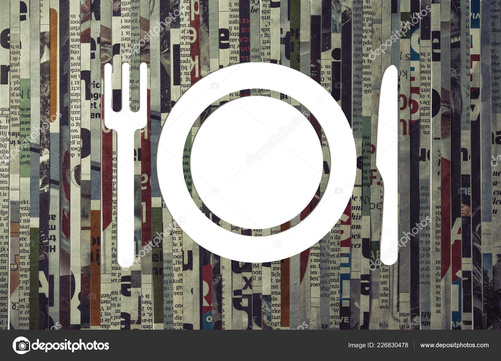 Icon Restaurant Cut Newspaper Concept Restaurant Marketing Food