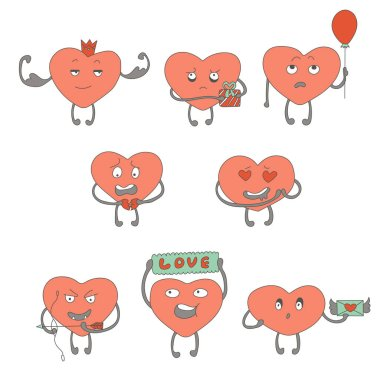 Characters of pink hearts in the form of stickers with different emotions on the face stock vector