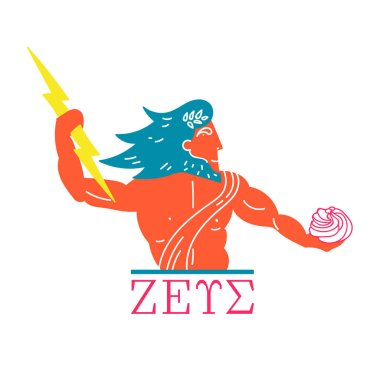 The mighty god Zeus with a lightning in his hand praises the marshmallow