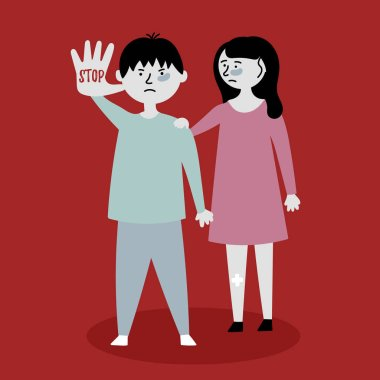 Children ask to stop the violence. Children stand behind each other. Stop mocking the kids. Child abuse. Editable vector illustration
