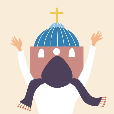 A religious Christian prays at the Church. A believer in a headscarf bows down and praises God. Pilgrimage. Vector