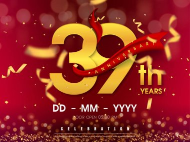 39 years anniversary logo template on gold background. 39th