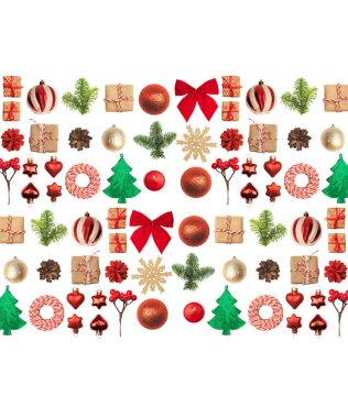 Christmas or New Year background: red and gold glass balls, fir tree branches, decorations and gifts on white background. A place for your congratulations. stock vector
