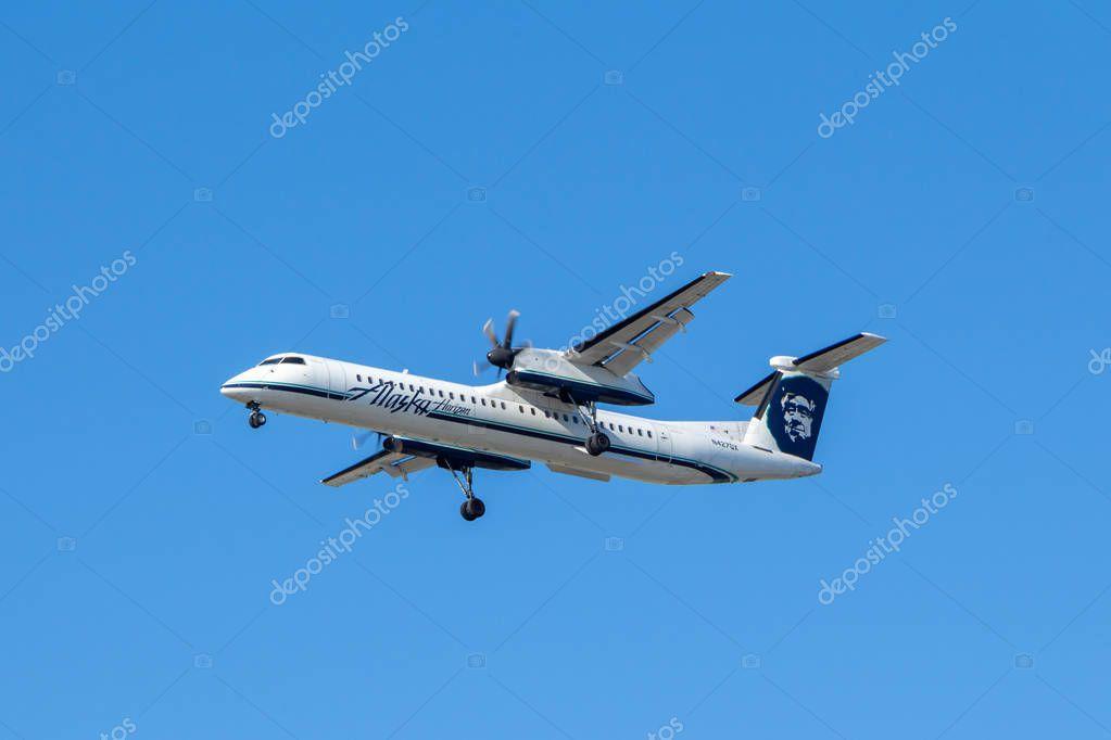 Vancouver, Canada - Circa 2018 : Bombardier Dash 8 in Alaska Air