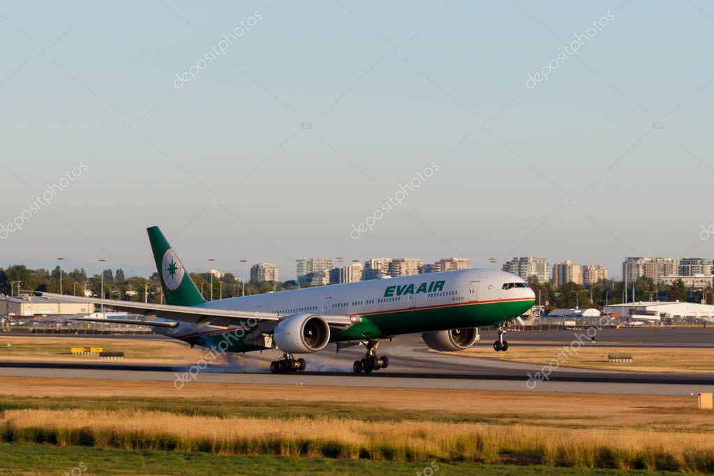 Vancouver, Canada - Circa 2018 : Eva Air Boeing 777 at YVR Inter
