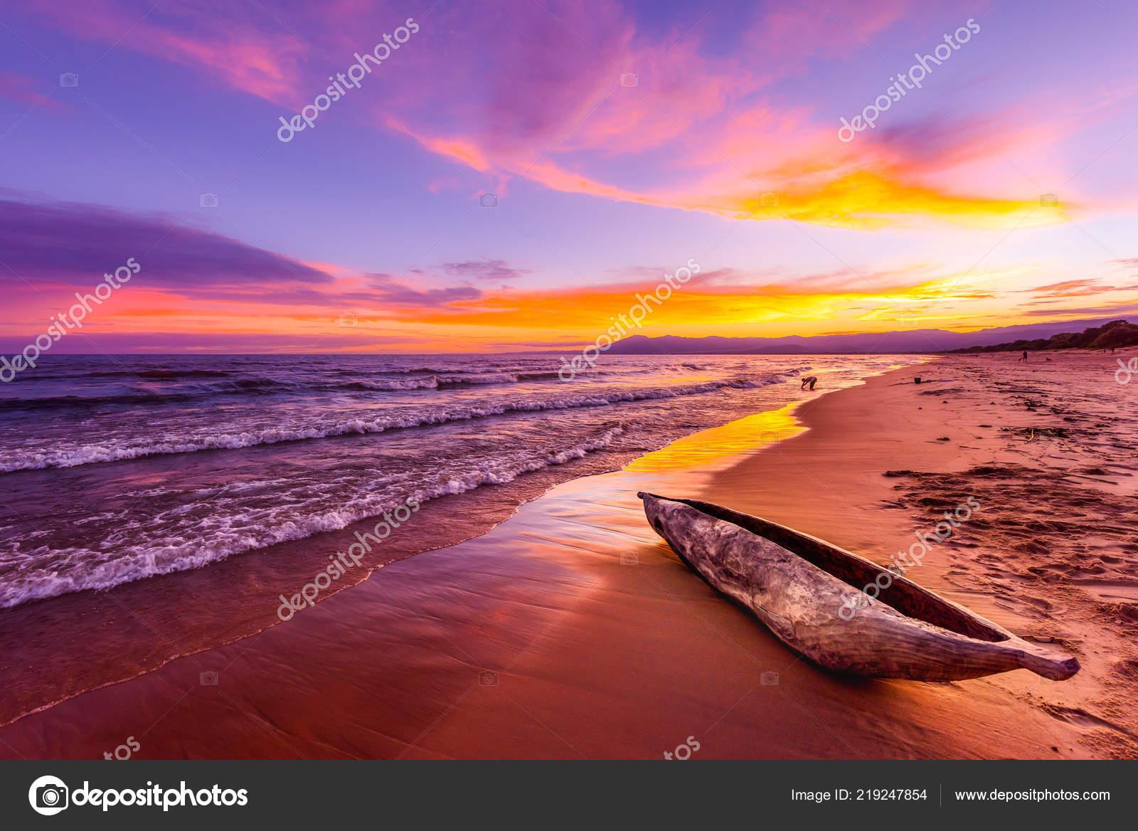lake malawi sunset kande beach africa canoe boat beach peaceful
