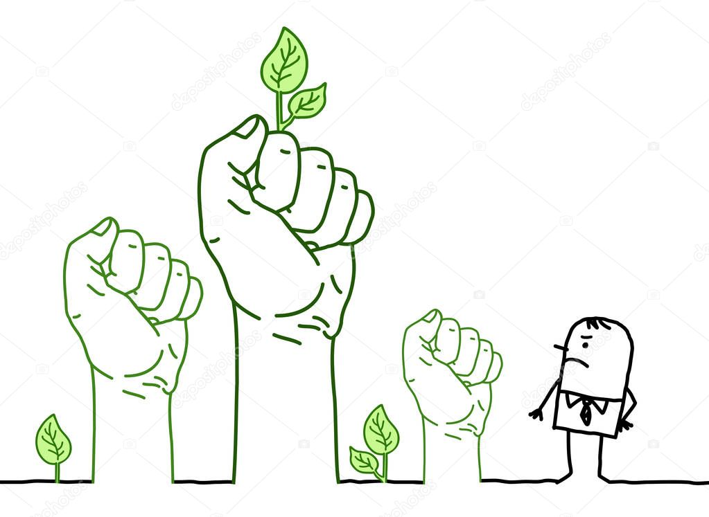 Big Green Hands with Cartoon Character - Protest