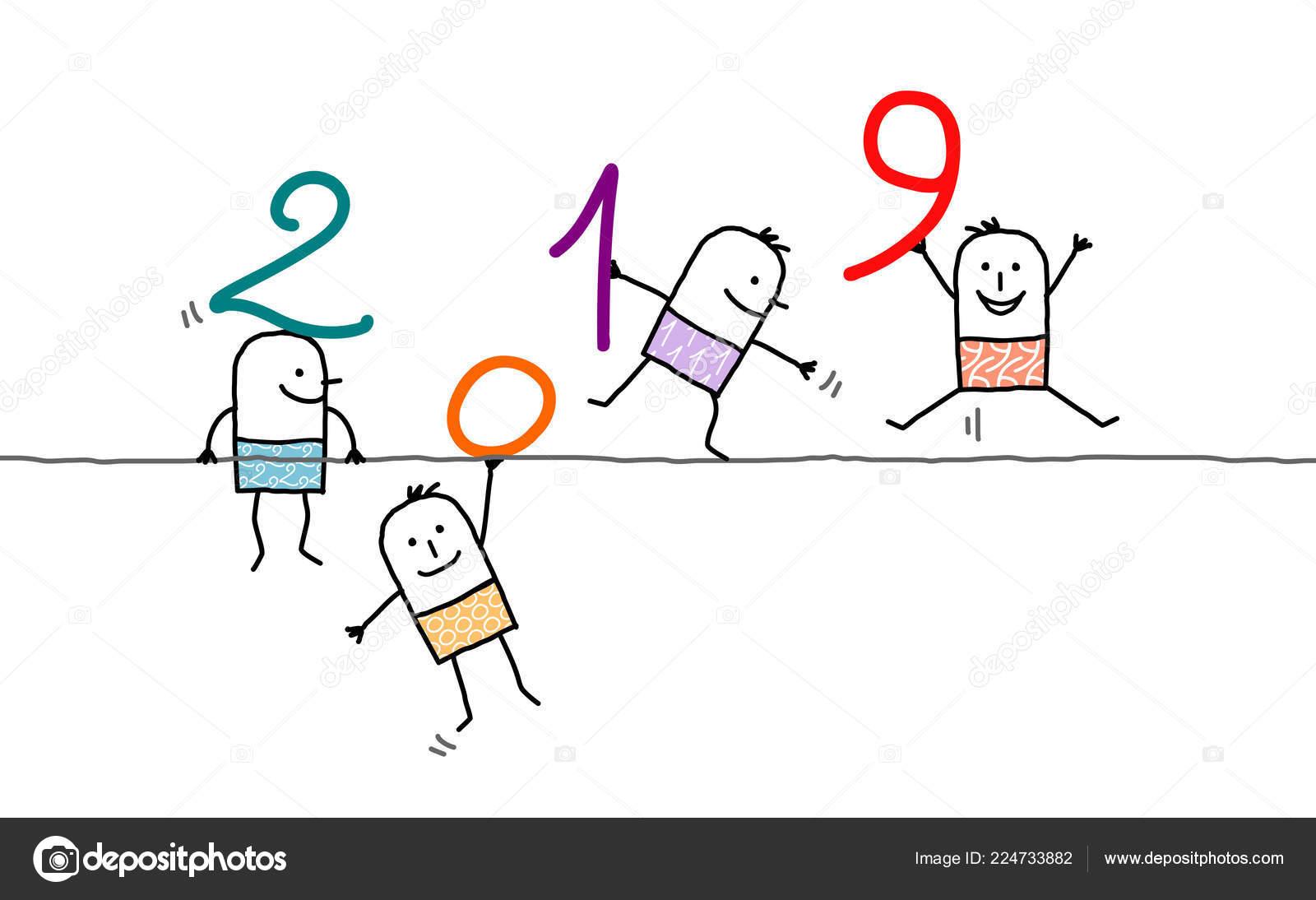 Wire Numbers | Cartoon Men Wire 2019 Numbers Stock Vector C Nlshop 224733882