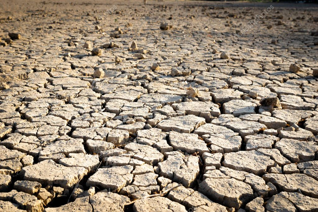 Cracked earth due to drought / River dried up, showing environmental damage.