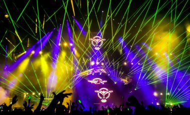 Bright and colorful laser rays.