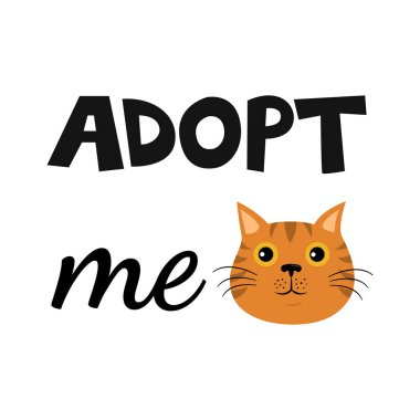 Vector flat cartoon cat illustration icon design. Adopt me. Help homeless animal concept. Isolated on white background