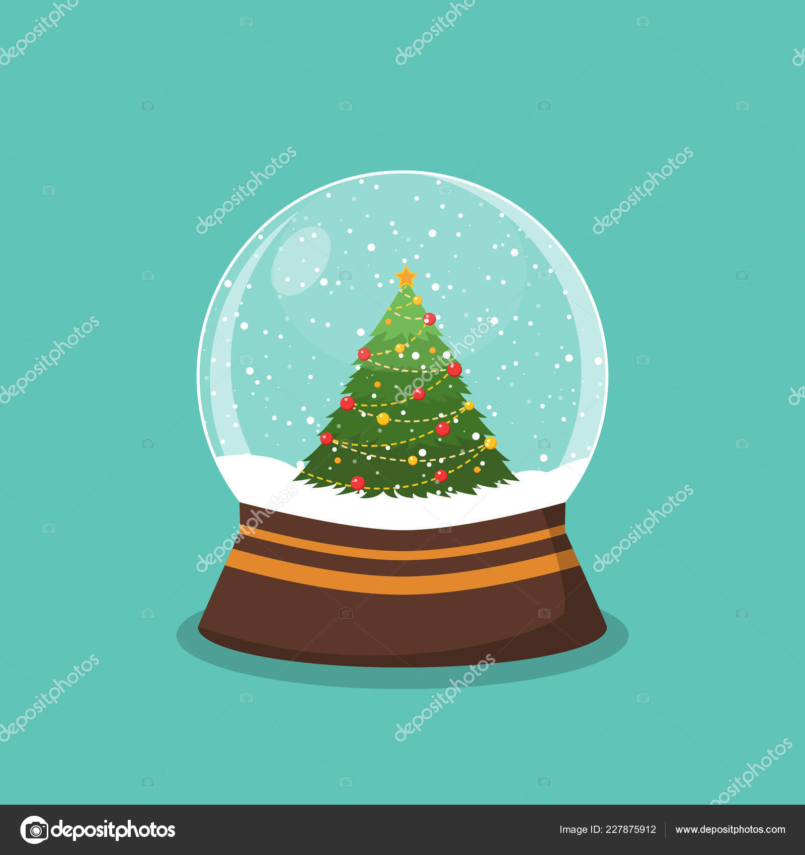 Christmas In Evergreen Snow Globe.Christmas Ball With Snow And A Christmas Tree Snow Globe