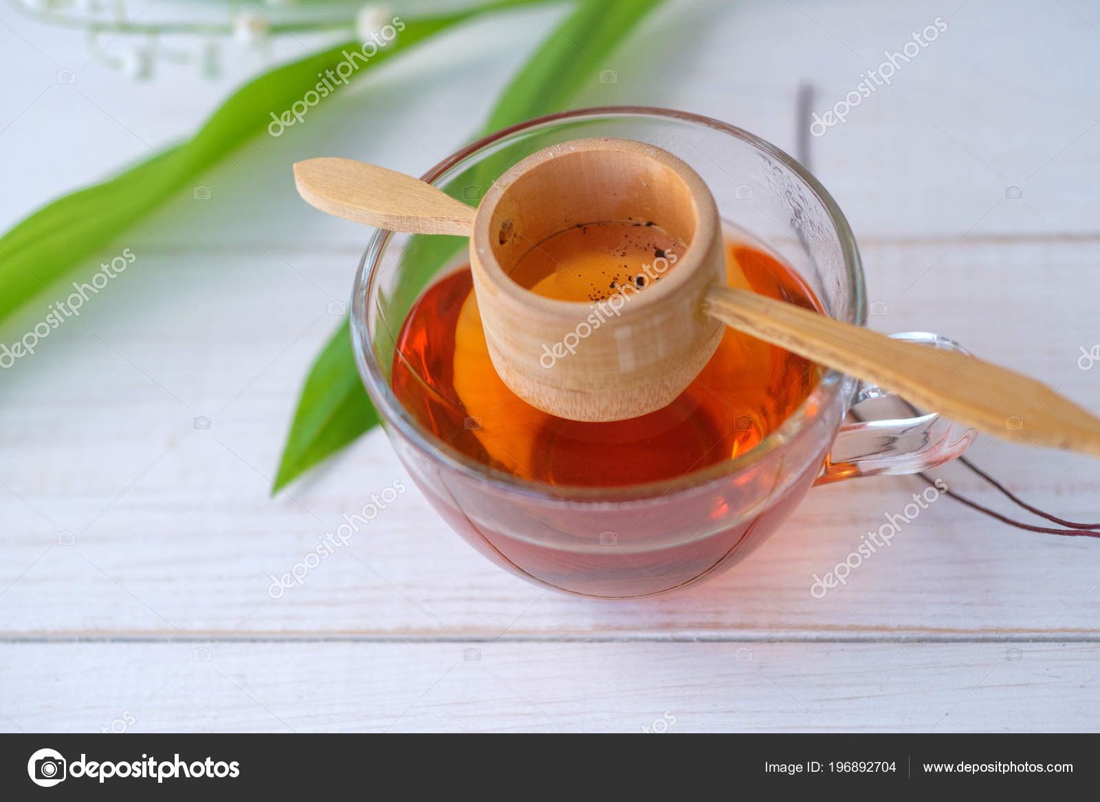 Old Chinese Tea Shen Puer Form Nest Brewed Tea Glass Stock Photo