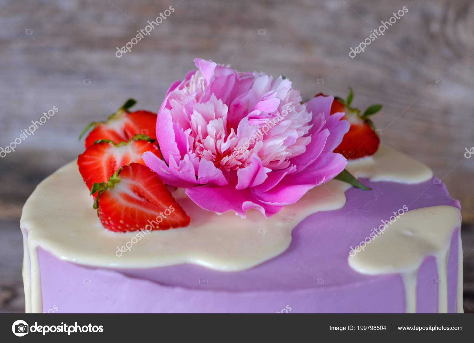 Beautiful Homemade Cake Purple Cheese Cream Decorated Live Pink Peony Stock Photo