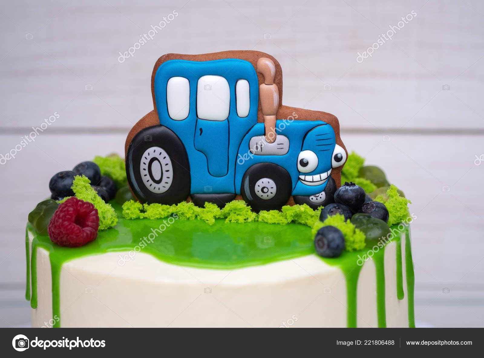 Pleasing Birthday Cake Child Toy Tractor Fresh Berries Stock Photo Personalised Birthday Cards Beptaeletsinfo