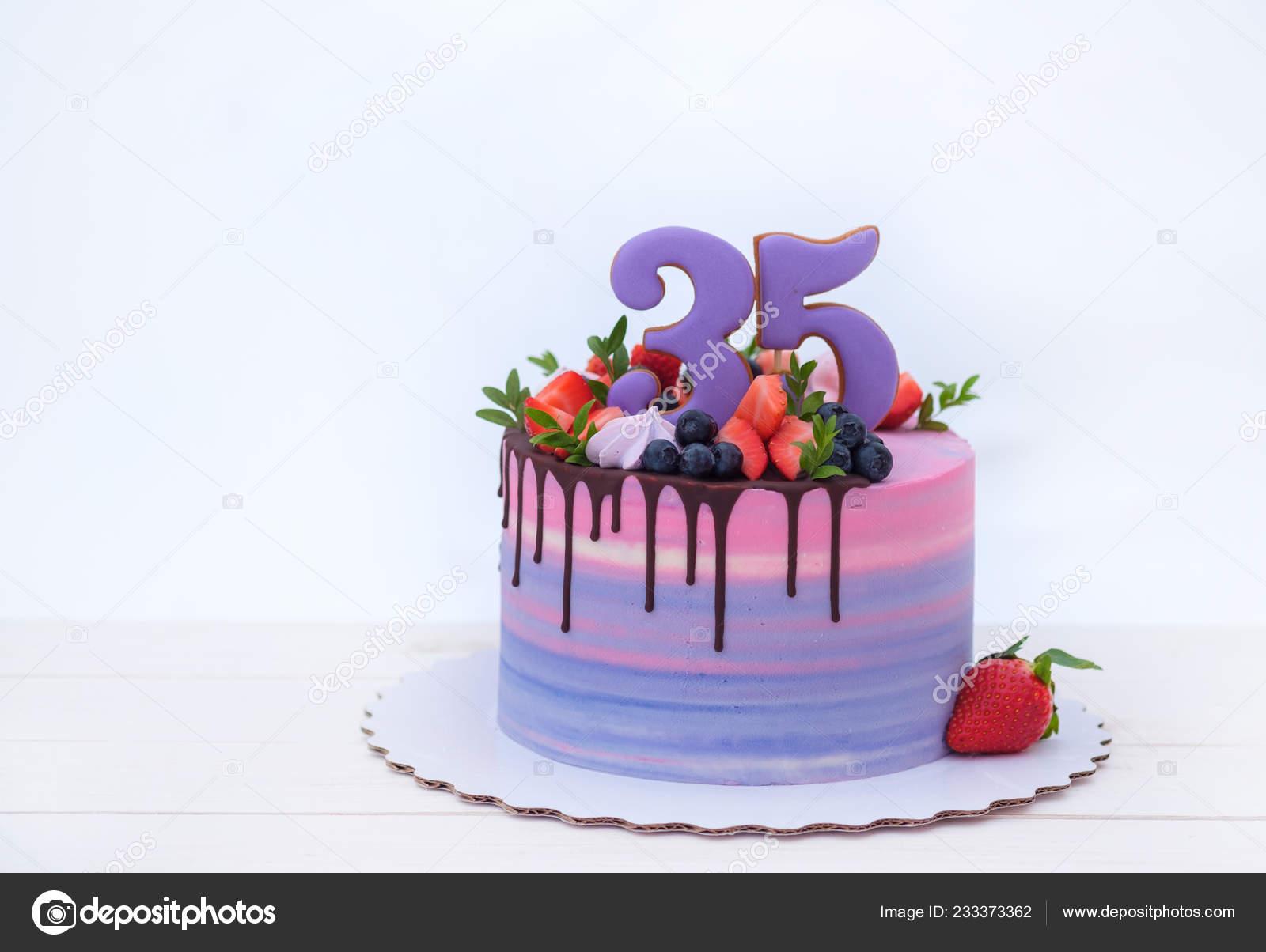 Admirable Beautiful Birthday Cake Number Thirty Five Decorated Fresh Personalised Birthday Cards Arneslily Jamesorg