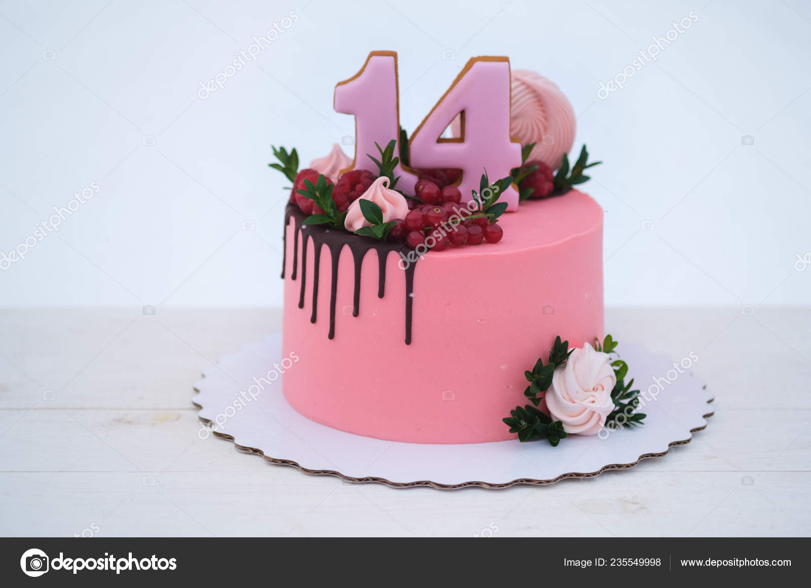 Tremendous Beautiful Birthday Cake Girl Number Fourteen White Background Funny Birthday Cards Online Elaedamsfinfo