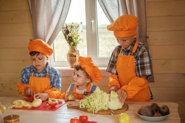 three young chefs cut vegetables for vegetarian soup on a table in a country house. three brothers in suits cooks prepare vegetable soup