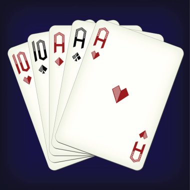 Full house - playing cards vector illustration
