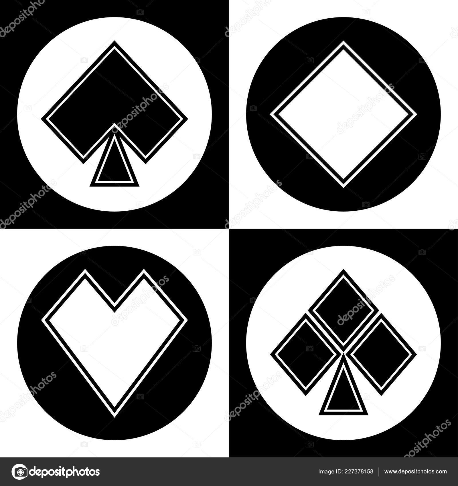 Conjunto Iconos Juegos Cartas Blanco Negro Vector De Stock