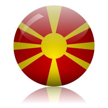 Macedonian flag glass icon vector illustration