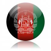 Afghan flag glass ball on light mirror surface vector illustration