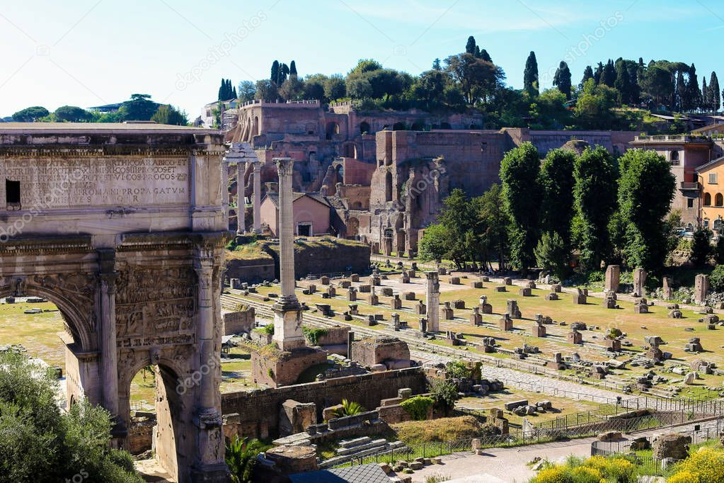 Roman Forum, arches and columns in Rome, Italy.