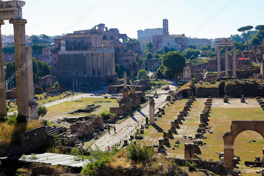 Great ruins of Roman Forum in Rome, Italy.
