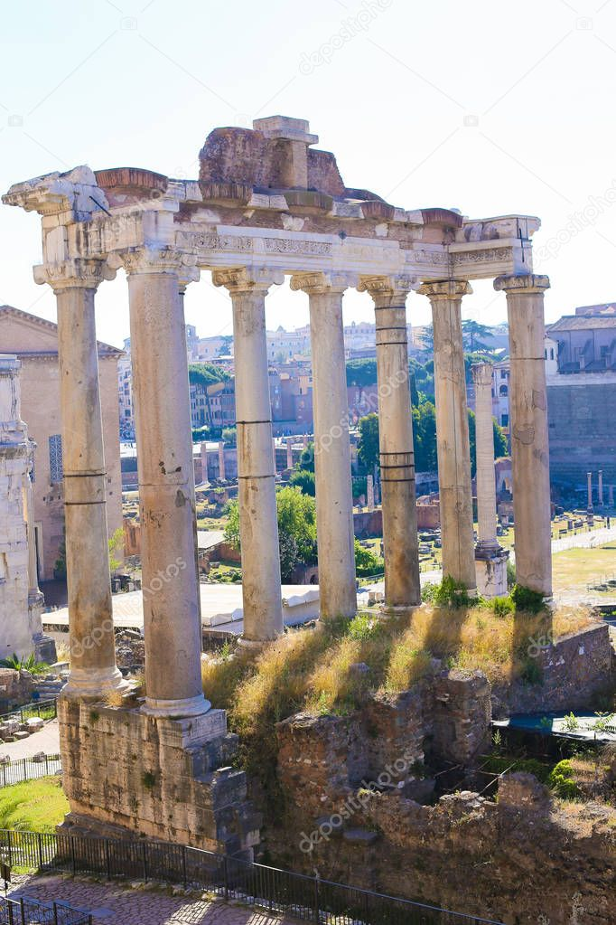 Antique ruins of Roman Forum in Rome, Italy.