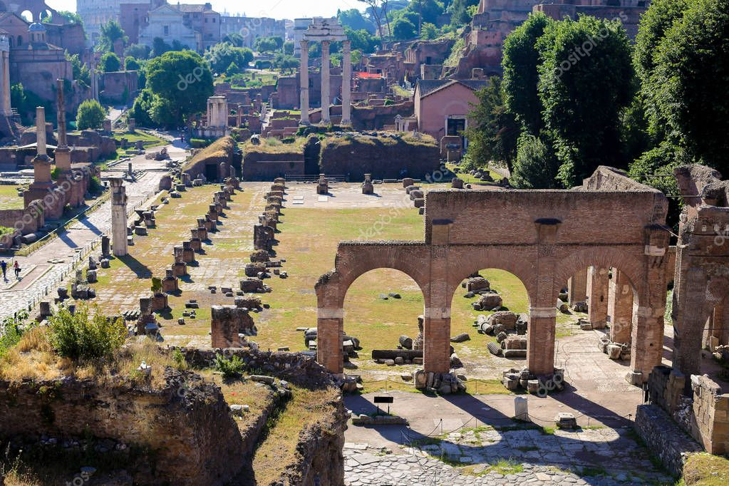 Famous ruins of Roman Forum in Rome, Italy.