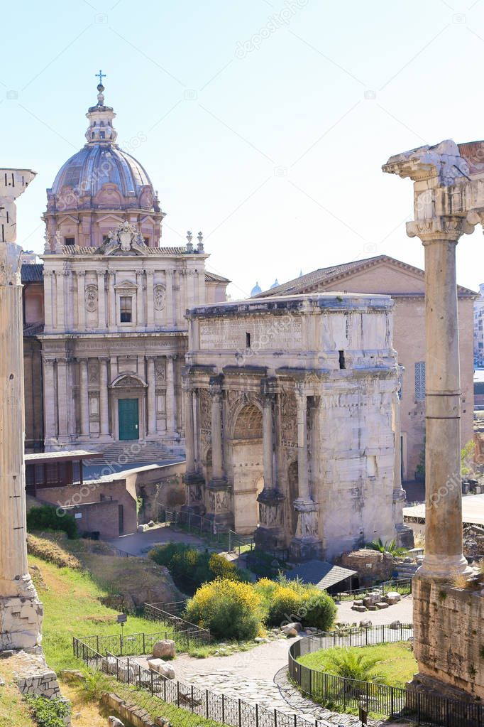 Great ruins of Roman Forum and church in Rome, Italy.