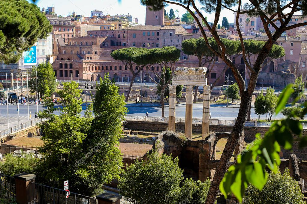 Roman Forum and antique ruins in Rome, Italy.