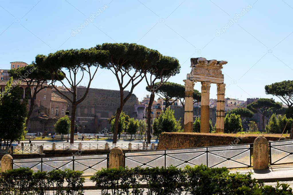 Amazing antique Rome and Roman Forum in Italy.