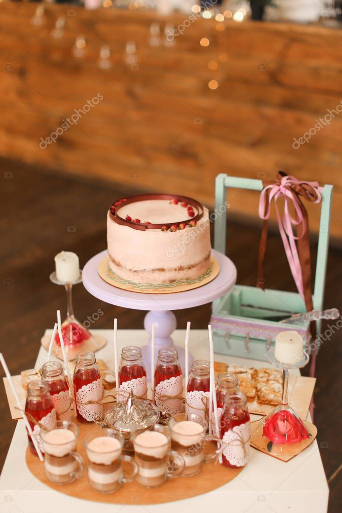 Tasty Birthday Cake And Yummy Drinks On Table Stock Photo C Sisterspro 264545158