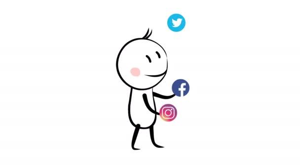 žonglér s sociální media ikony redakční animace