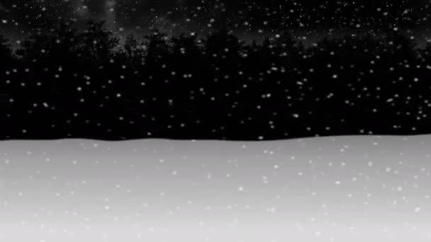 pohybující se přes noc zimní sníh lesní animace 3d ilustrace vykreslení pozadí bezešvé smyčka