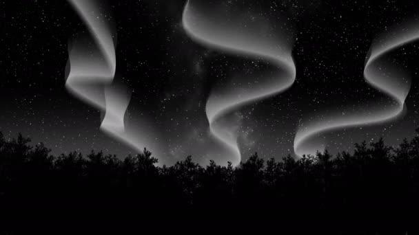 noční zimní polární záře 3d ilustrace vykreslení