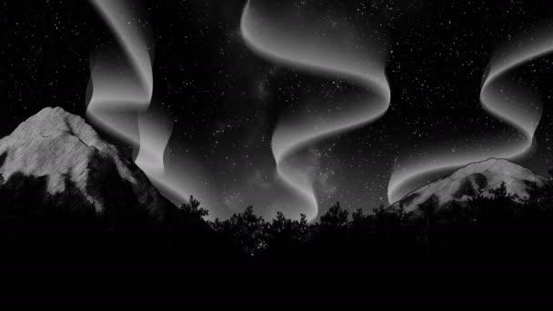 noční obloze polární záře polární záře na hory a Les 3d obrázek pozadí vykreslení smyčky animace