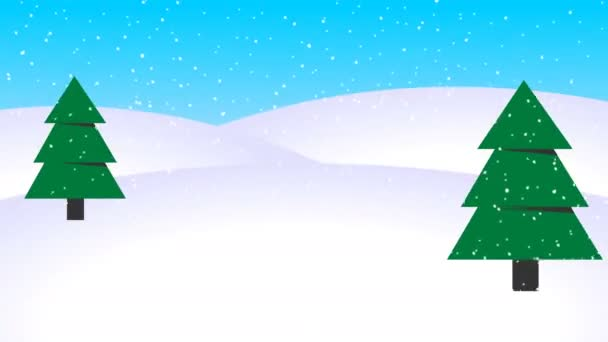 Winter Animation Background Falling Snow loop