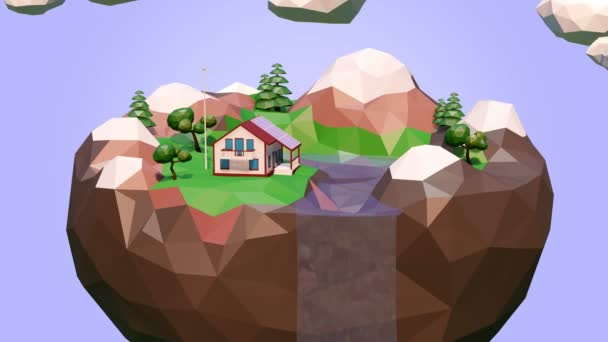 Eco low poly island floating in the sky 3d render