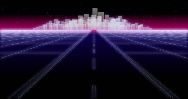 Noční město silnice 80 Retro pozadí smyčky 3d vykreslení
