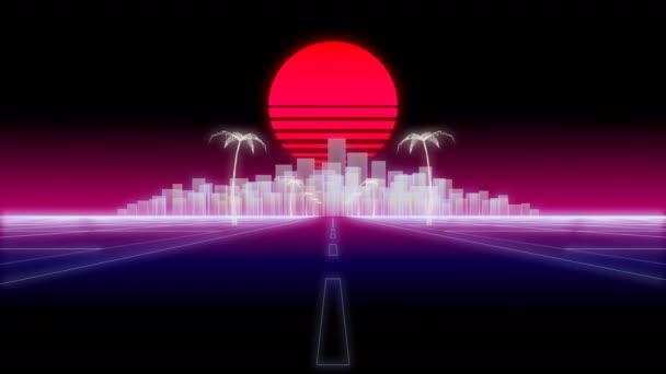 Neon city palms silnici 80 Retro pozadí 3d vykreslení