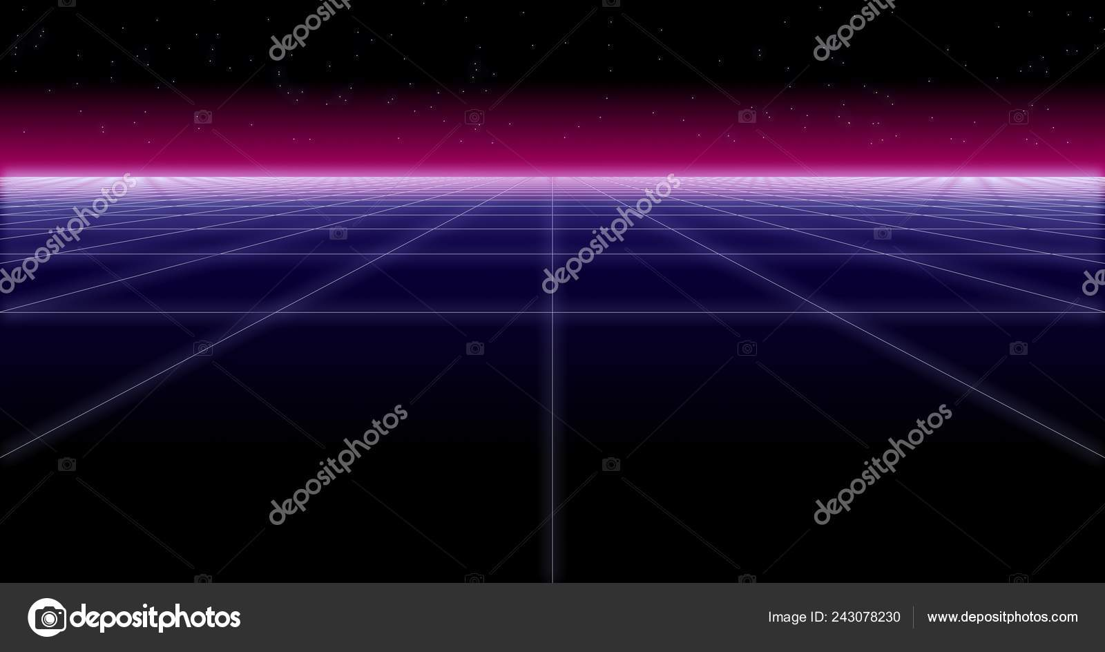 synthwave net and stars Retro Background 3d render — Stock Photo