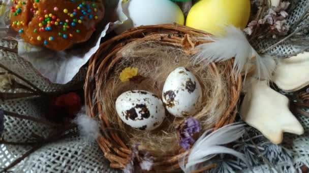 Easter basket with eggs cake dried flower zoom out