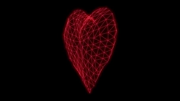 Low poly Heart Glowing neon light grid triangle grid, 80s Retro Sci-fi  Cyberpunk  Retrofuturism, Synthwave, Retrowave, Seamless Looping animation  3d render illustration
